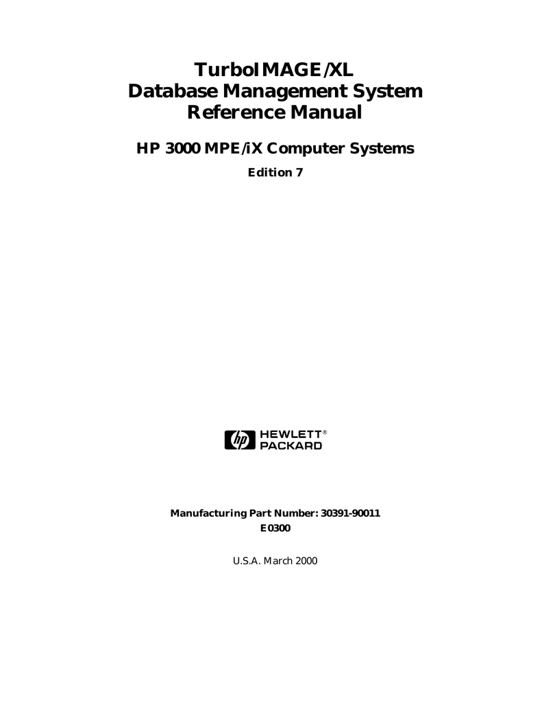 TurboIMAGE/XL Database Management System Reference Manual