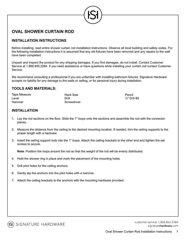 Oval Shower Curtain Rod Installation Instructions Manualzz Com