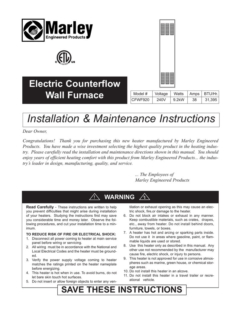 hight resolution of installation maintenance instructions electric counterflow wall furnace manualzz com