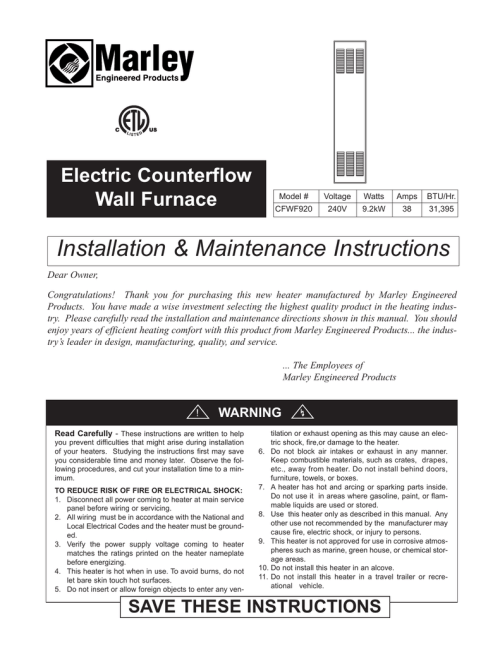 small resolution of installation maintenance instructions electric counterflow wall furnace manualzz com