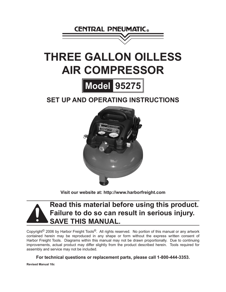 Central Pneumatic Air Compressor 3 Gallon Manual