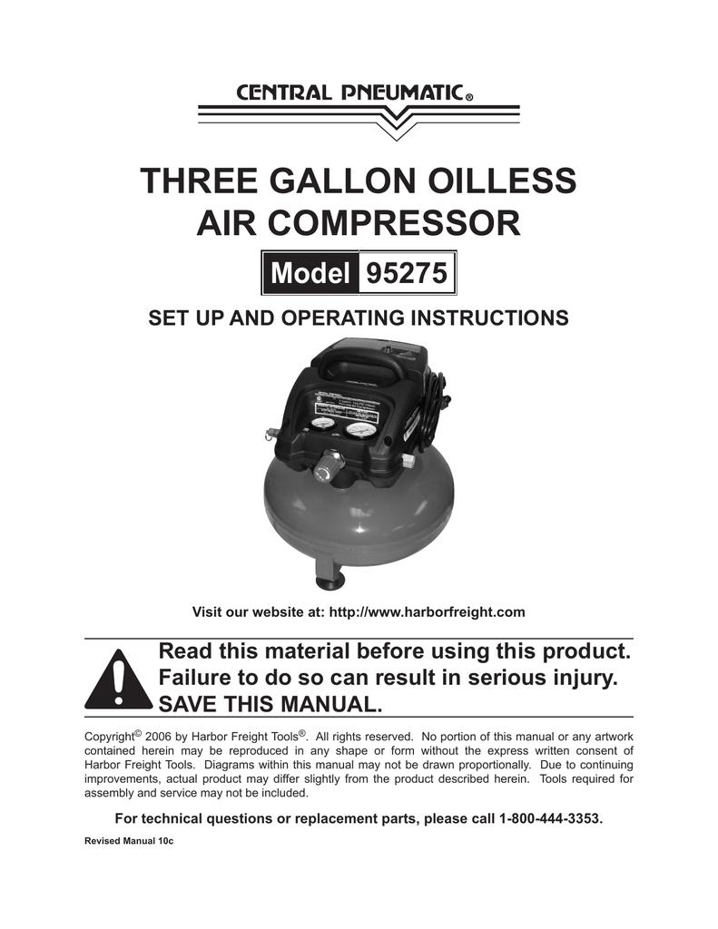 medium resolution of central pneumatic 95275 air compressor manual manualzz com central pneumatic air compressor wiring diagram central pneumatic