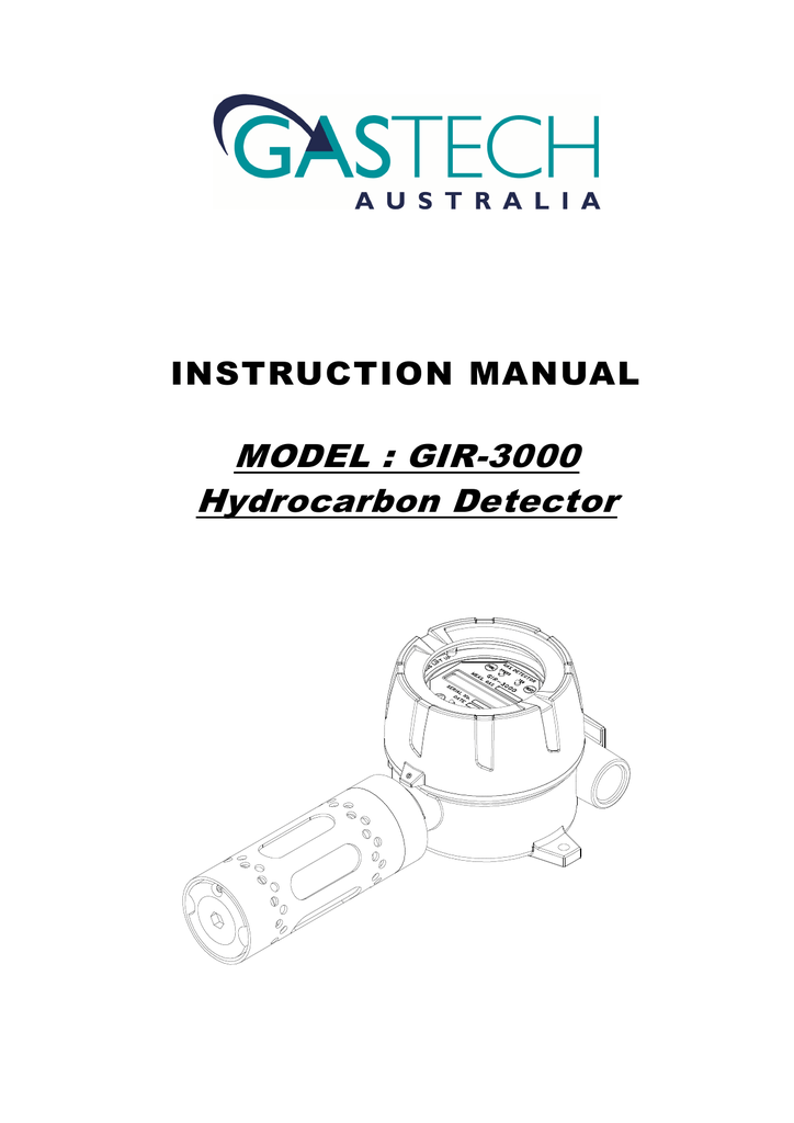 MODEL : GIR-3000 Hydrocarbon Detector INSTRUCTION MANUAL