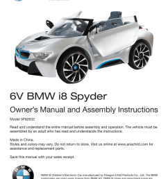 6v bmw i8 spyder owner s manual and assembly instructions [ 791 x 1024 Pixel ]