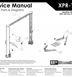 bendpak 5175770 xpr 10a two post car lift exploded view parts list ver e 05 21 [ 1024 x 791 Pixel ]