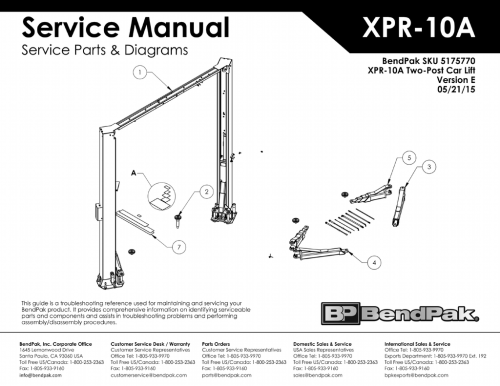 small resolution of bendpak 5175770 xpr 10a two post car lift exploded view parts list ver e 05 21