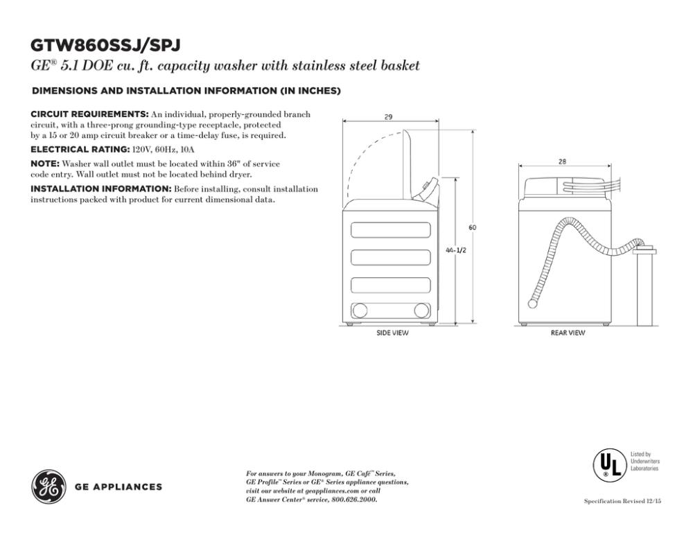 medium resolution of gtw860ssj spj ge 5 1 doe cu ft capacity washer with stainless steel basket