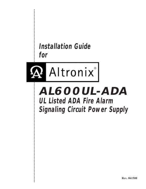 small resolution of al600ul ada ada fire alarm signaling circuit power supply