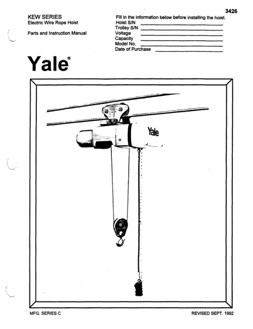 small resolution of yalewirerope kewmanual yalewirerope kewmanual 3426 kew series electric wire rope hoist parts and instruction manual