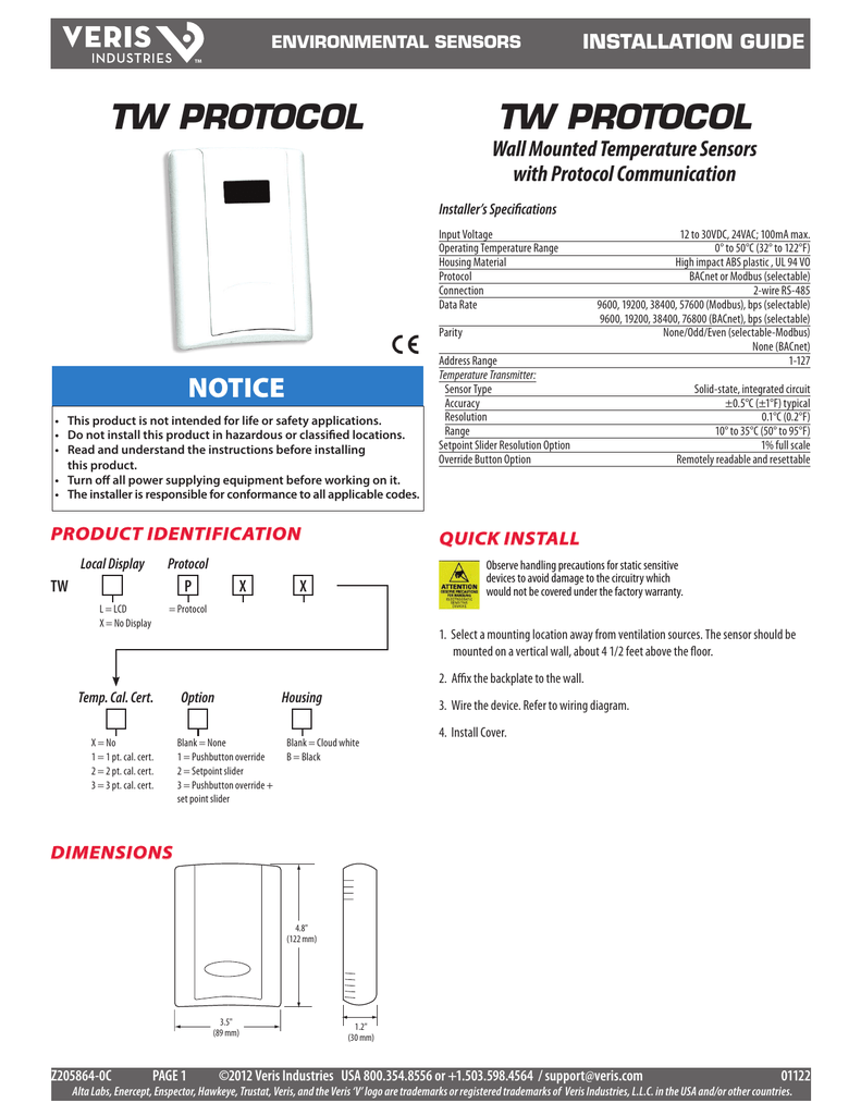 hight resolution of tw protocol wall mounted temperature sensors with protocol communication installation guide manualzz com