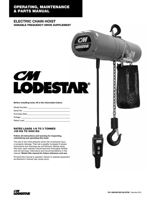 small resolution of cm lodestar electric chain hoist vfd supplement 10001609