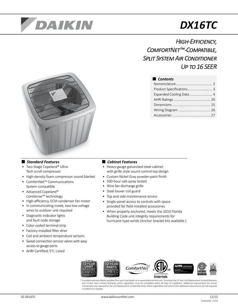 medium resolution of dx16tc high efficiency comfortnet compatible split system air conditioner