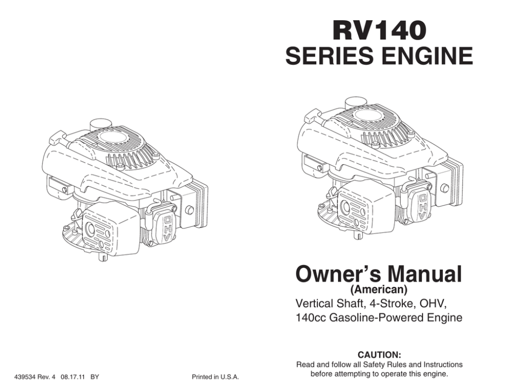 medium resolution of rv140 series engine owner s manual american vertical shaft 4 stroke ohv 140cc gasoline powered engine caution 439534 rev