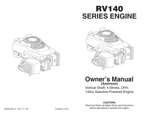 small resolution of rv140 series engine owner s manual american vertical shaft 4 stroke ohv 140cc gasoline powered engine caution 439534 rev