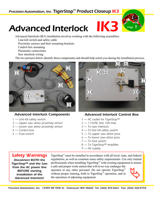 small resolution of  ik3 page 1 advanced interlock ik3 installation involves working with the following assemblies line kill switch and safety cable proximity sensors and