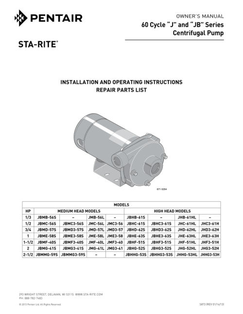 small resolution of 60 cycle j and jb series centrifugal pump installation and operating instructions