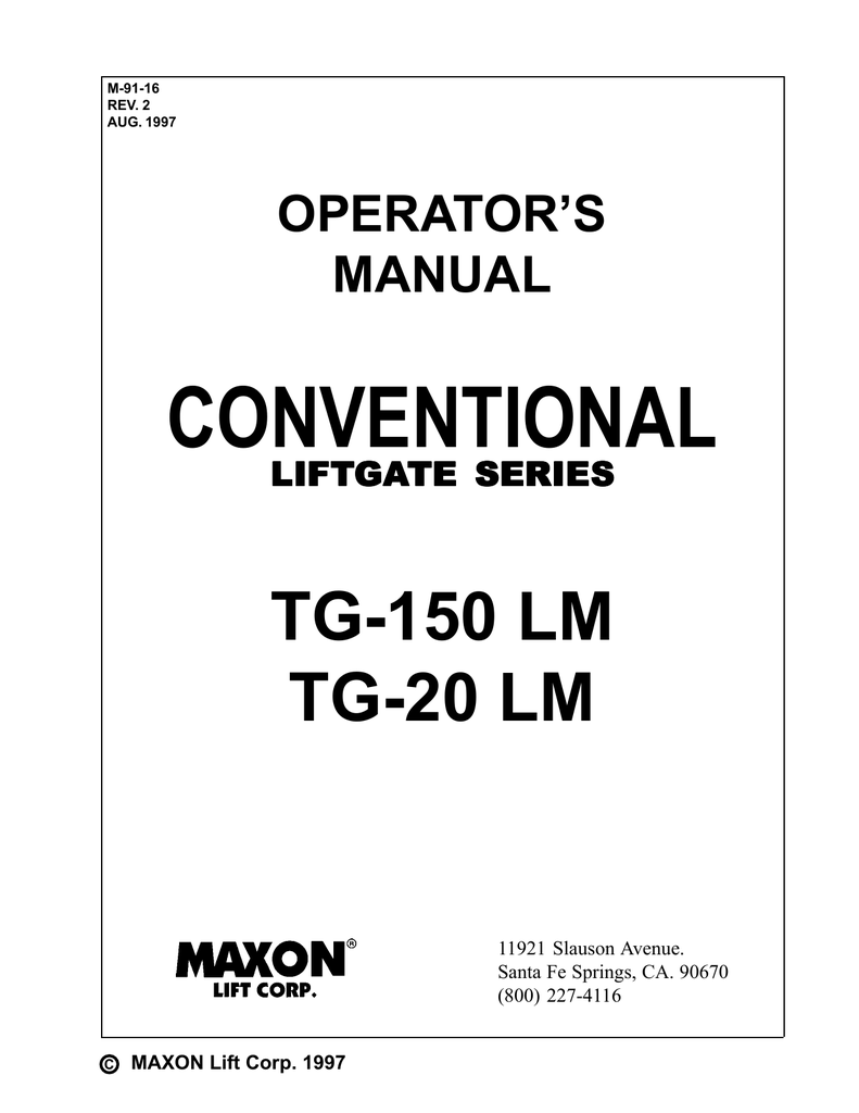 Maxon TG SERIES (Horizontal Pump) Operating instructions