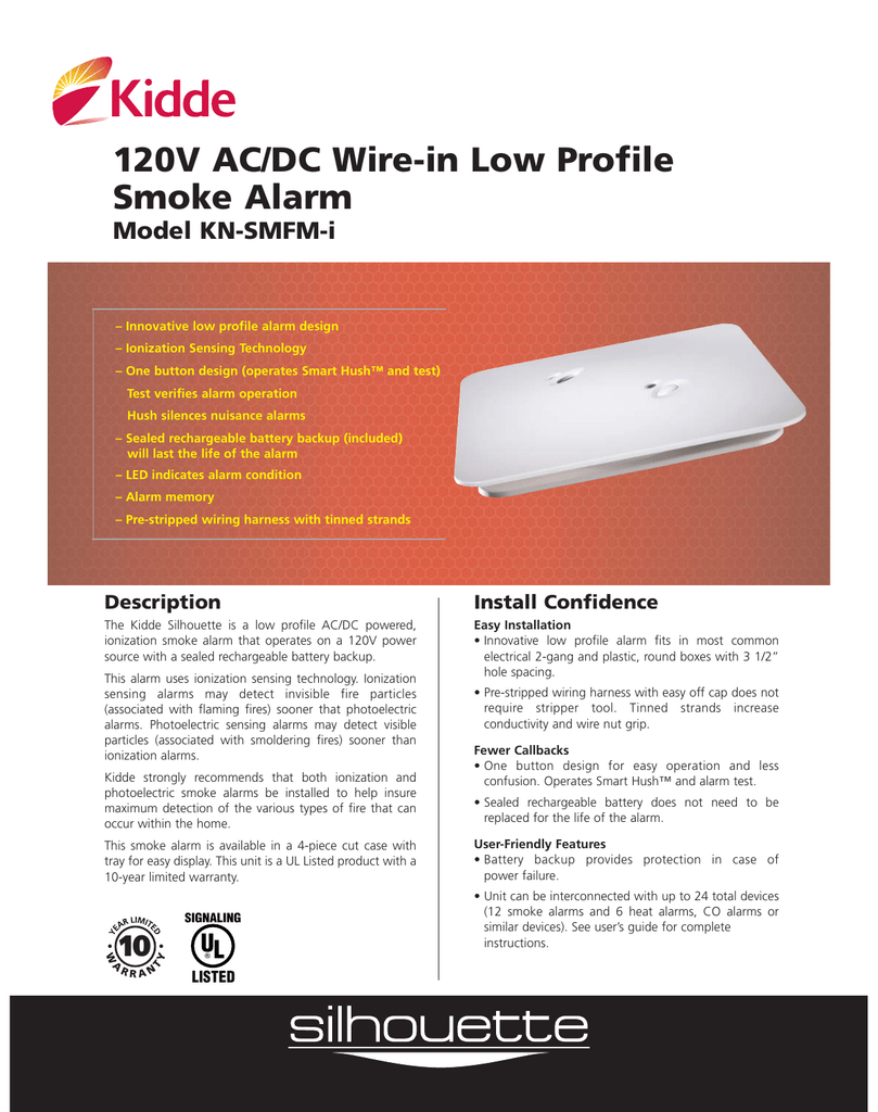 medium resolution of 120v ac dc wire in low profile smoke alarm model kn smfm i manualzz com