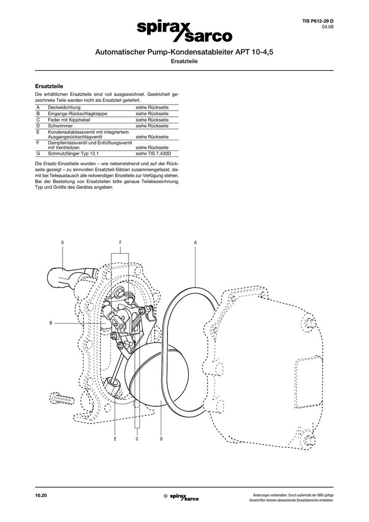 Automatischer Pump-Kondensatableiter APT 10-4,5