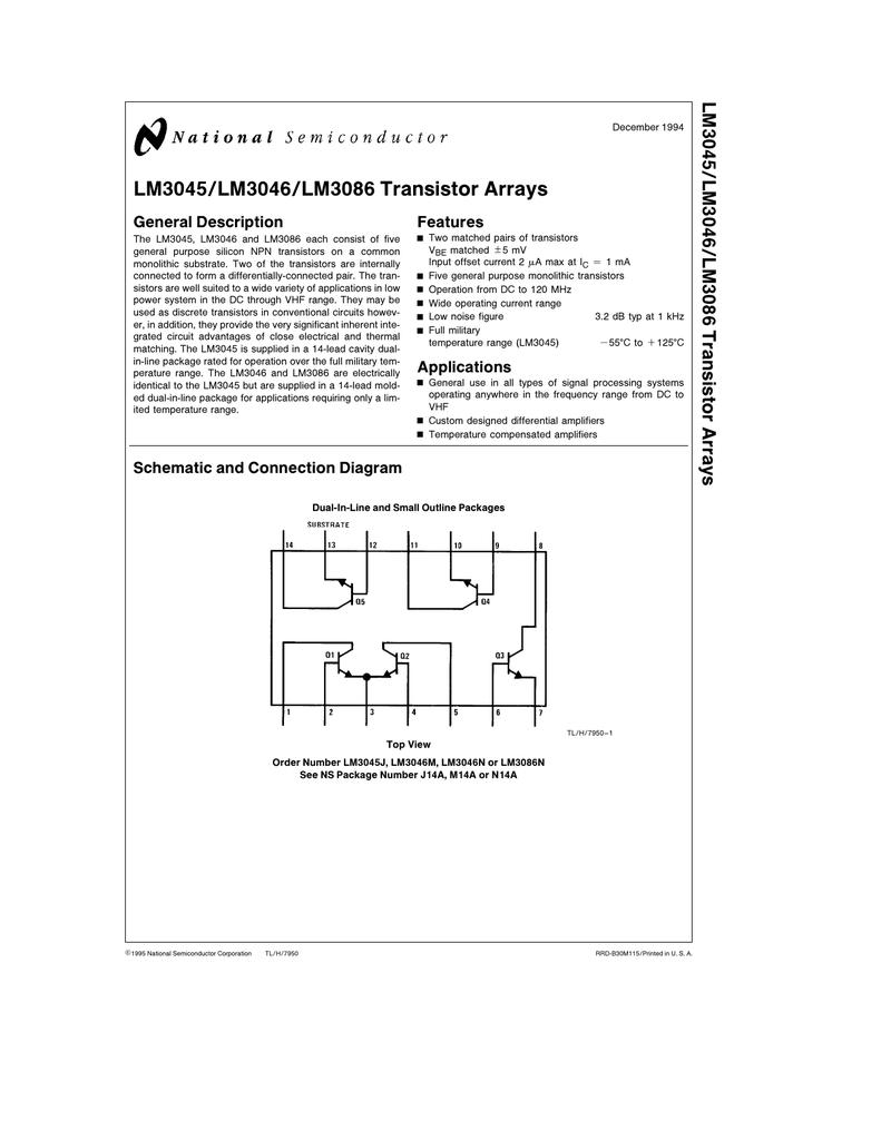 LM3045/LM3046/LM3086 Transistor Arrays LM3045/LM3046
