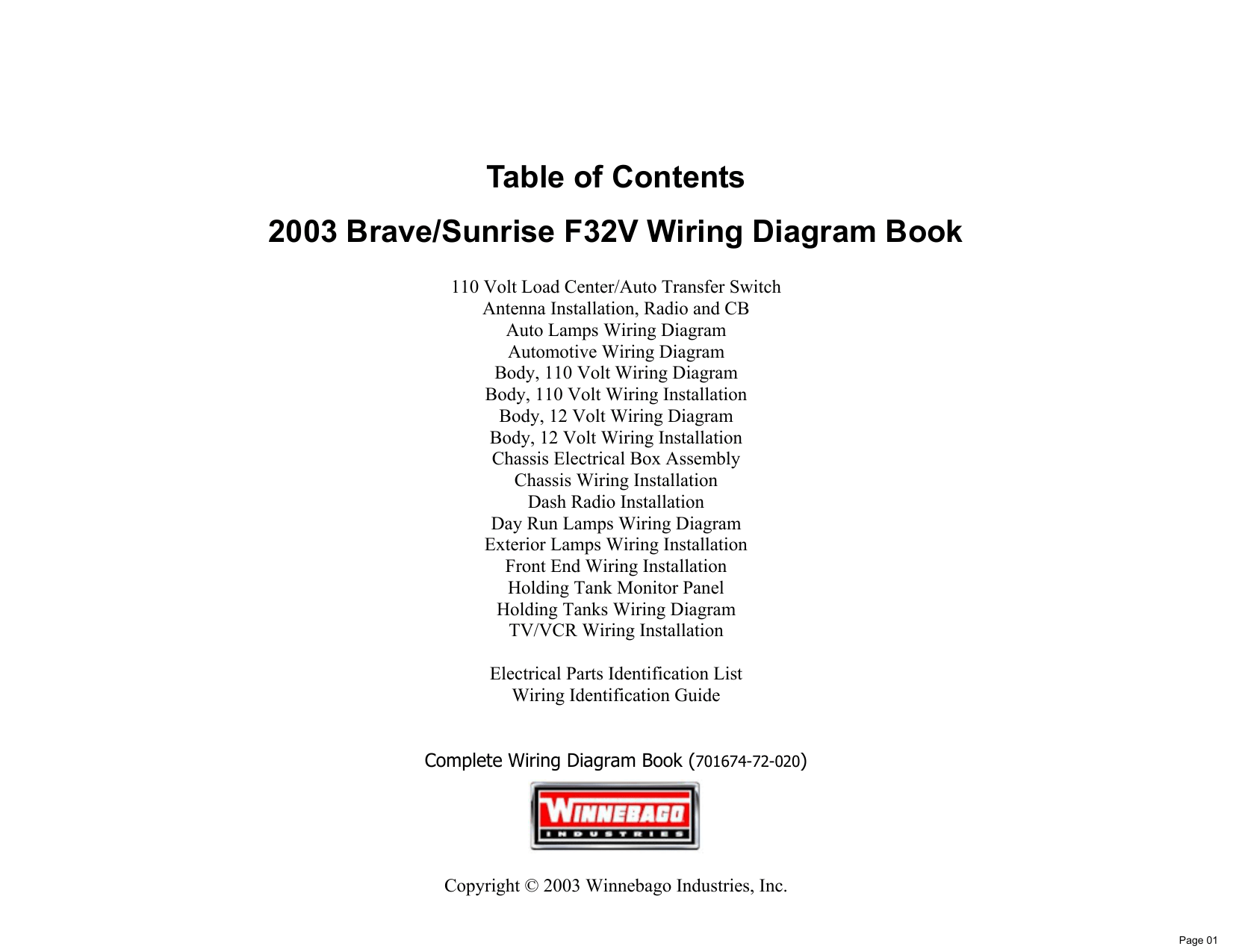 hight resolution of table of contents 2003 brave sunrise f32v wiring diagram book