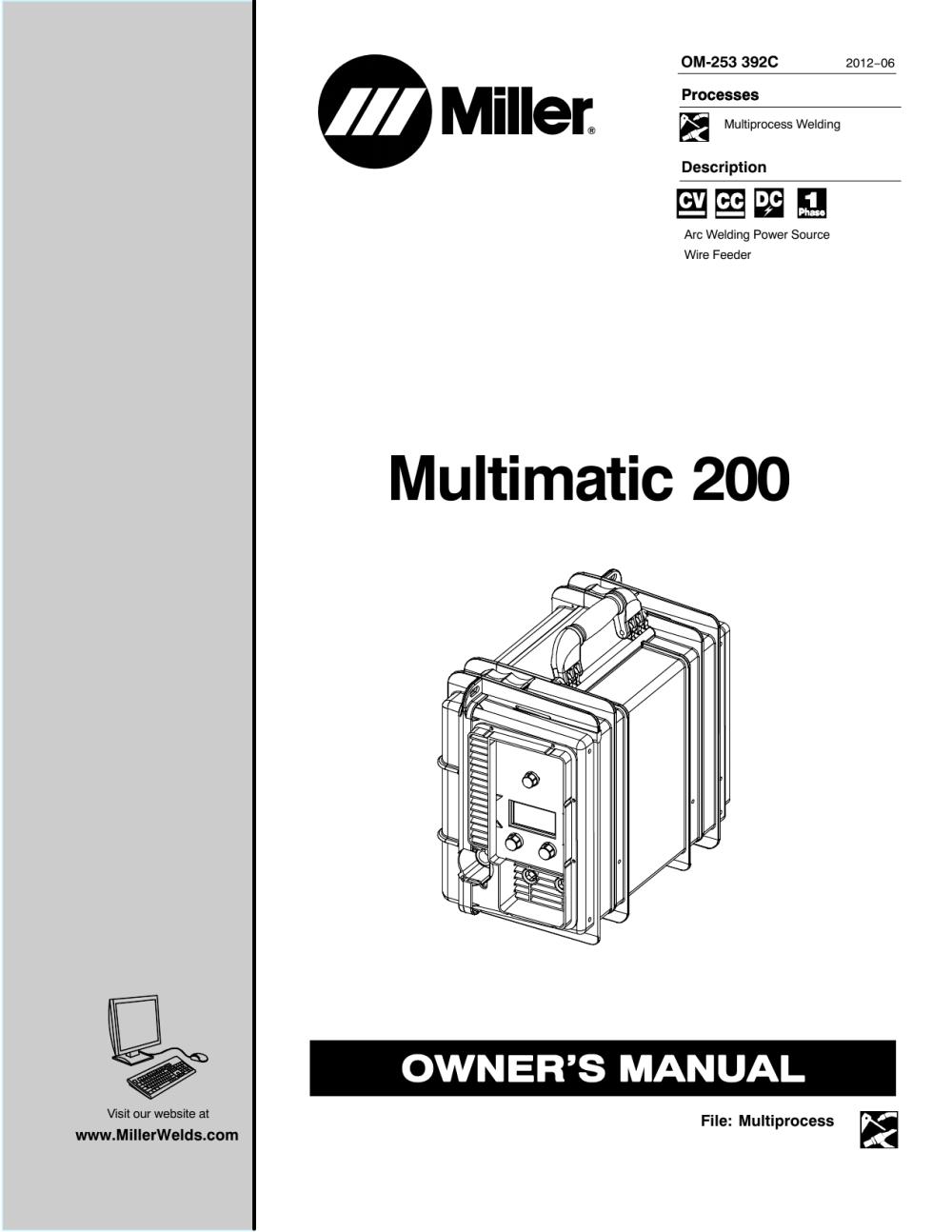 medium resolution of multimatic 200 miller welding