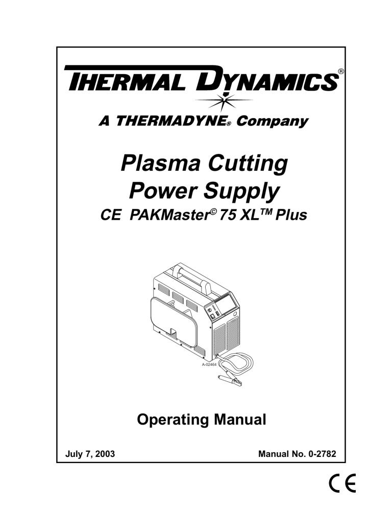 ESAB Plasma Cutting Power Supply CE PAKMaster© 75 XLTM
