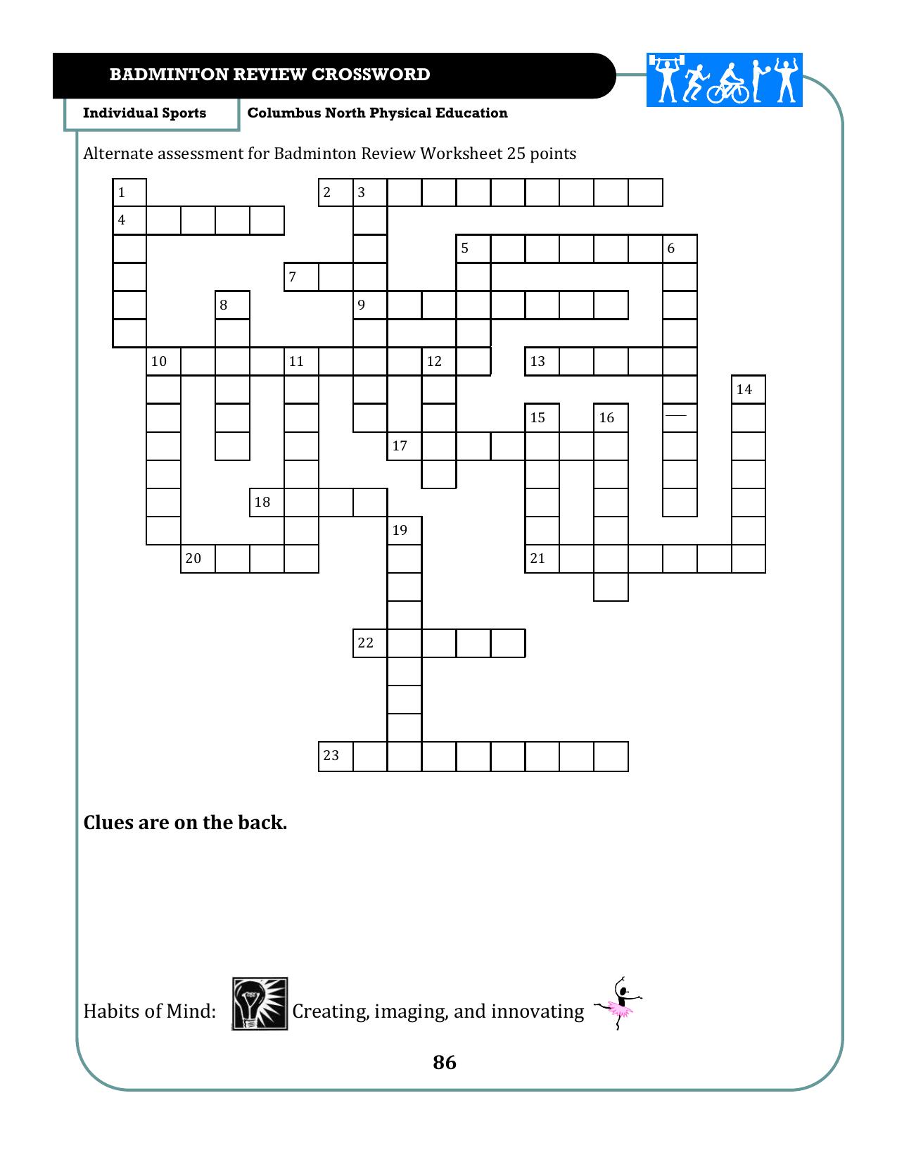 Badminton Assessment Sheet