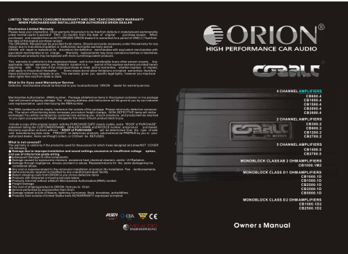 small resolution of orion car amplifiers owners manual