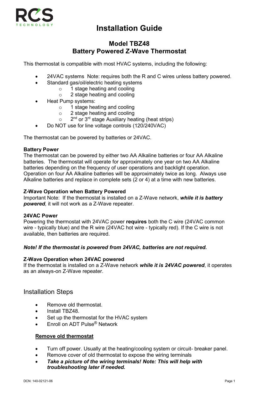 medium resolution of tz43 installation manual
