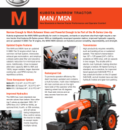 m kubota n a rro w tra c to r m4n m5n new standards in narrow tractor performance and operator comfort narrow enough to work between vines and powerful  [ 1275 x 1651 Pixel ]