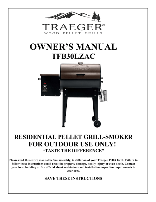 small resolution of owner s manual traeger wood pellet grills