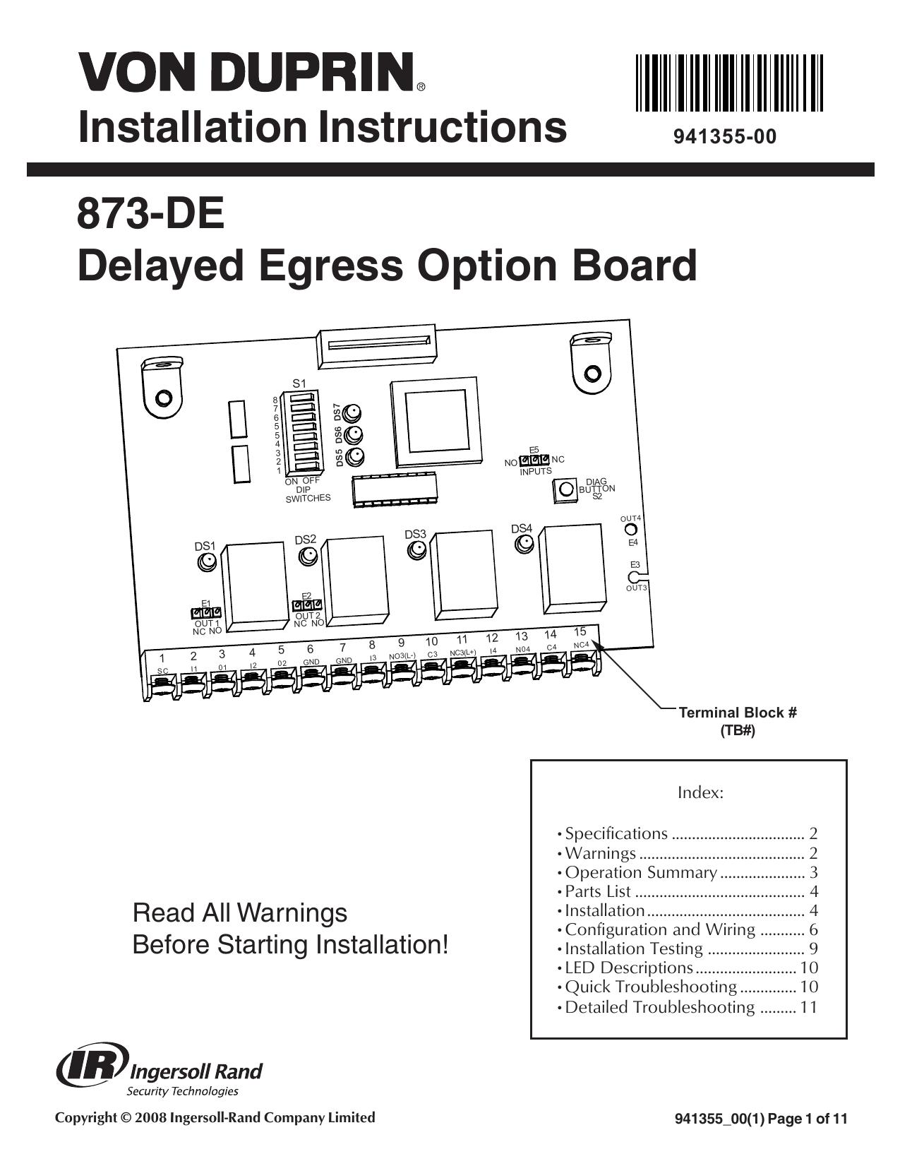 hight resolution of installation instructions 873 de delayed egress option