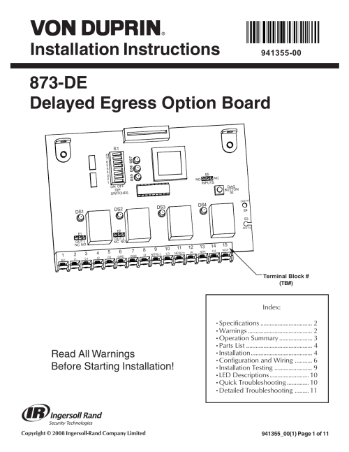 small resolution of installation instructions 873 de delayed egress option