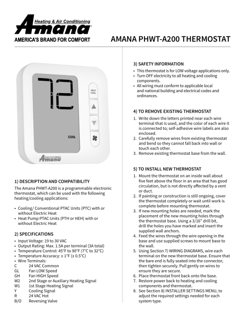 small resolution of amana phwt a200 thermostat