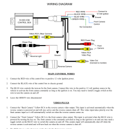wiring diagram connect to 12 volt ignition red wire black wire blue wire green wire sv 800 csb control box ground front camera control no connection yellow  [ 1275 x 1651 Pixel ]