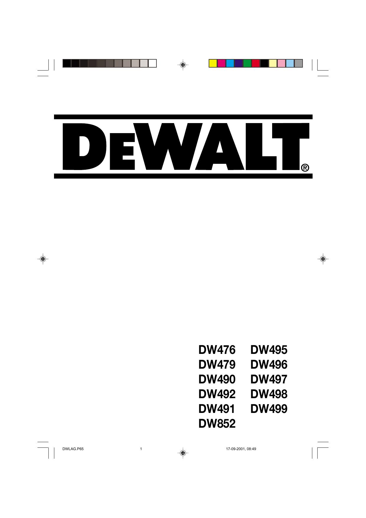 DeWalt DW496 ANGLE GRINDER Type 2 instruction manual
