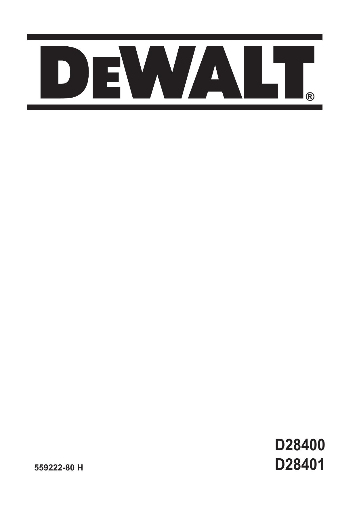 DeWalt D28400 ANGLE GRINDER Type 2 instruction manual