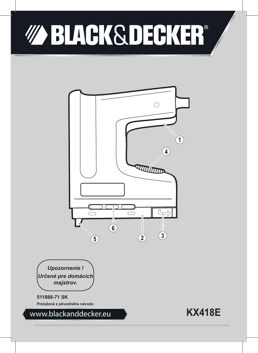 Black&Decker KX418E TACKER Type 2 instruction manual