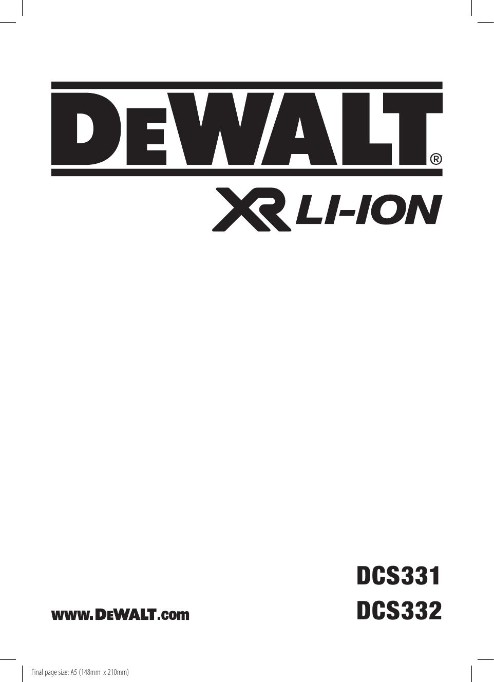 DeWalt DCS331 CORDLESS JIGSAW Type 10 instruction manual