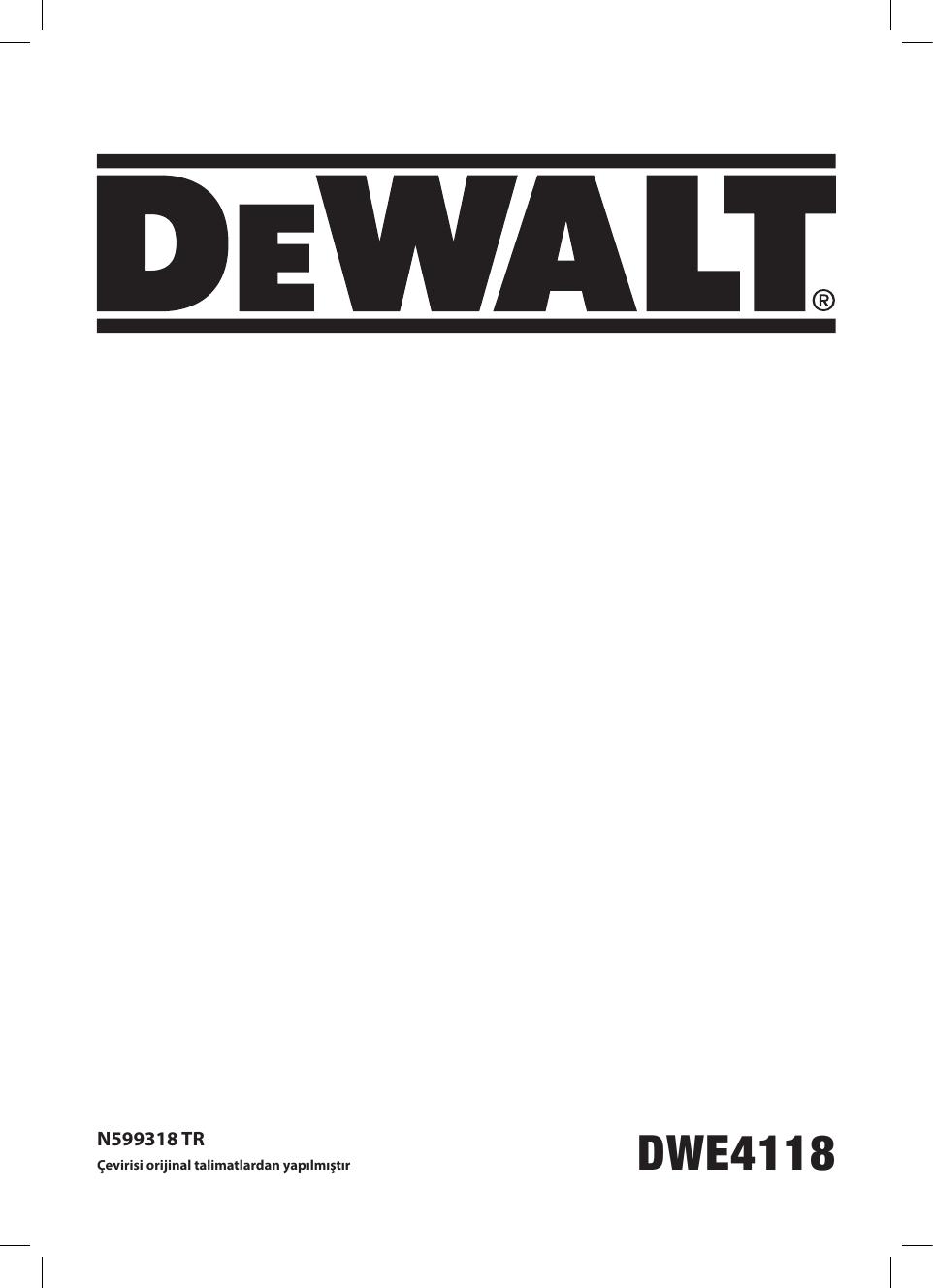 DeWalt DWE4118 SMALL ANGLE GRINDER instruction manual