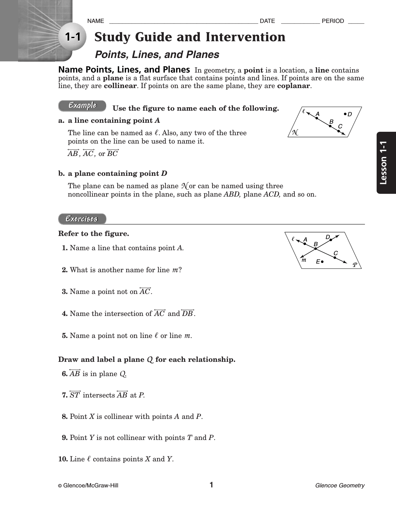 Glencoe Geometry Worksheet Answer Key