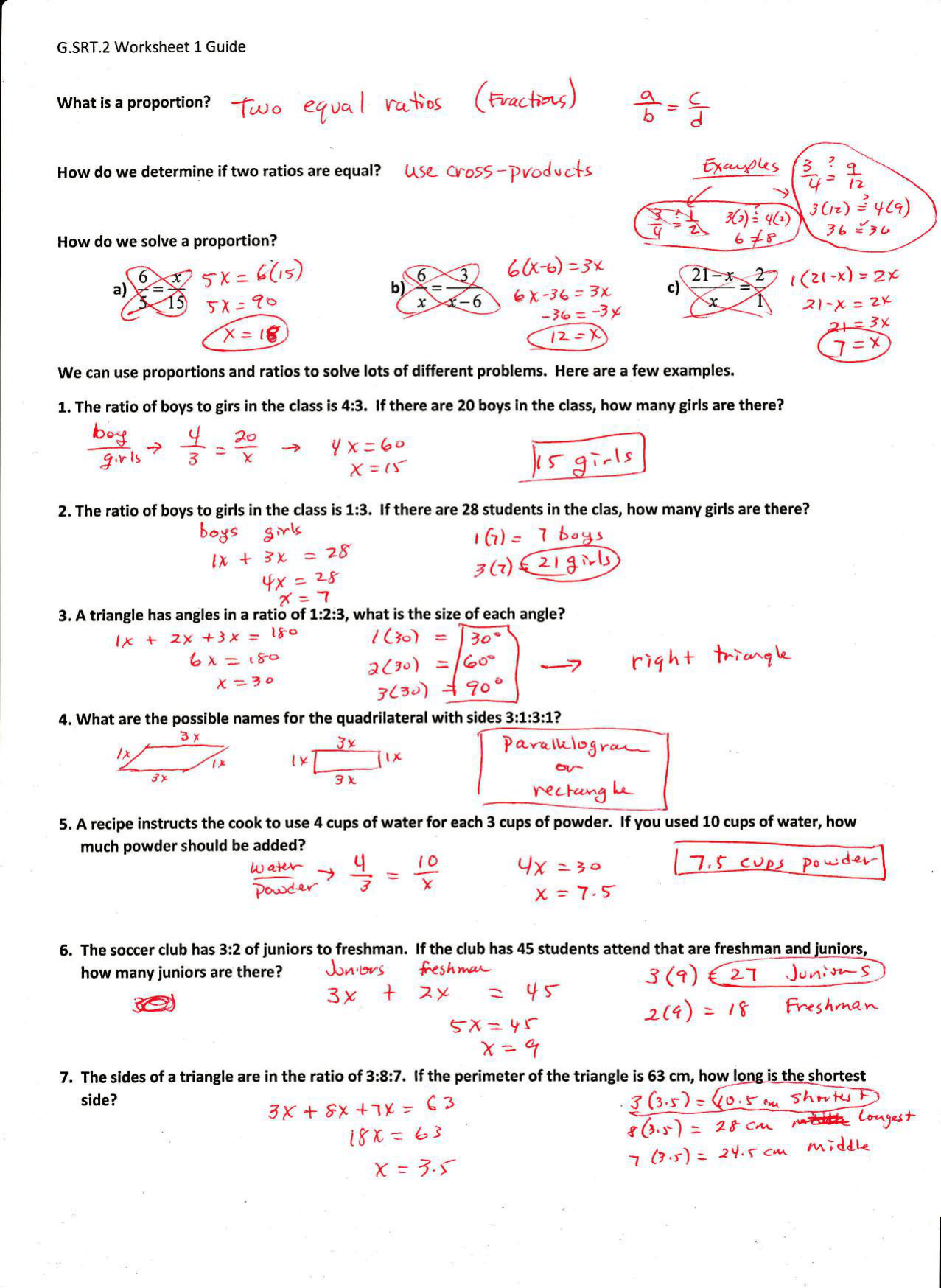 Printables Of G Srt 1 Worksheet 1 Key