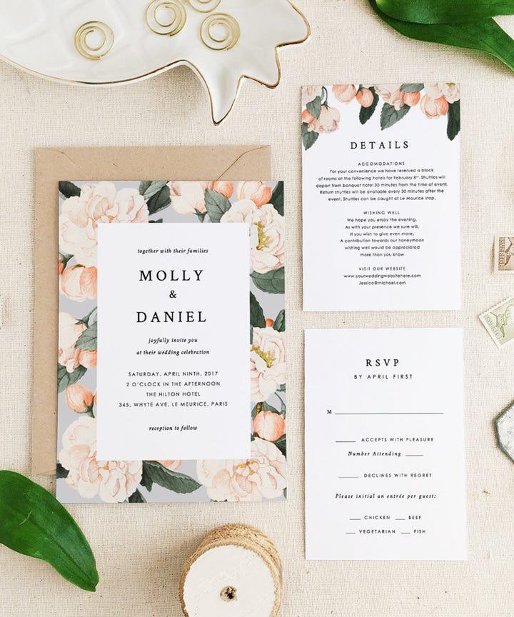 Gray And Yellow Fl Wedding Invitation Set By Ccoinc On Etsy