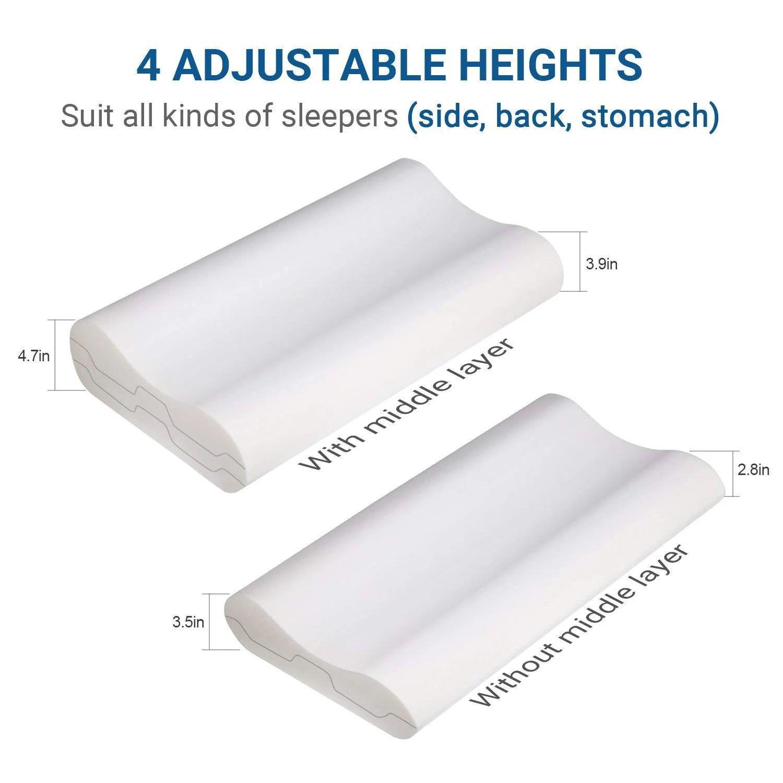 sandwich adjustable memory foam pillow