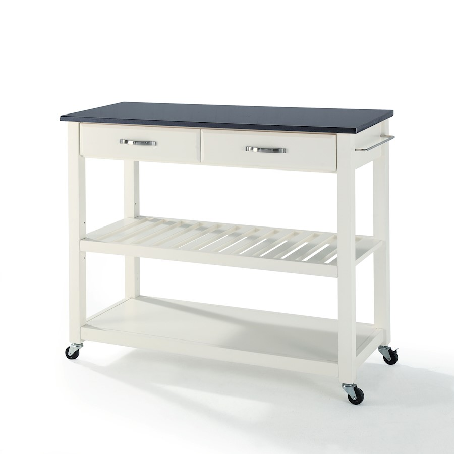 crosley kitchen cart rubber mats solid black granite top w stool storage white image is loading