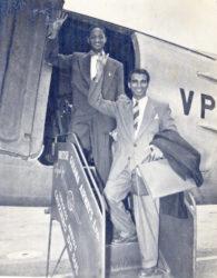 Forbes Burnham and Cheddi Jagan boarding British Guiana Airways Ltd.