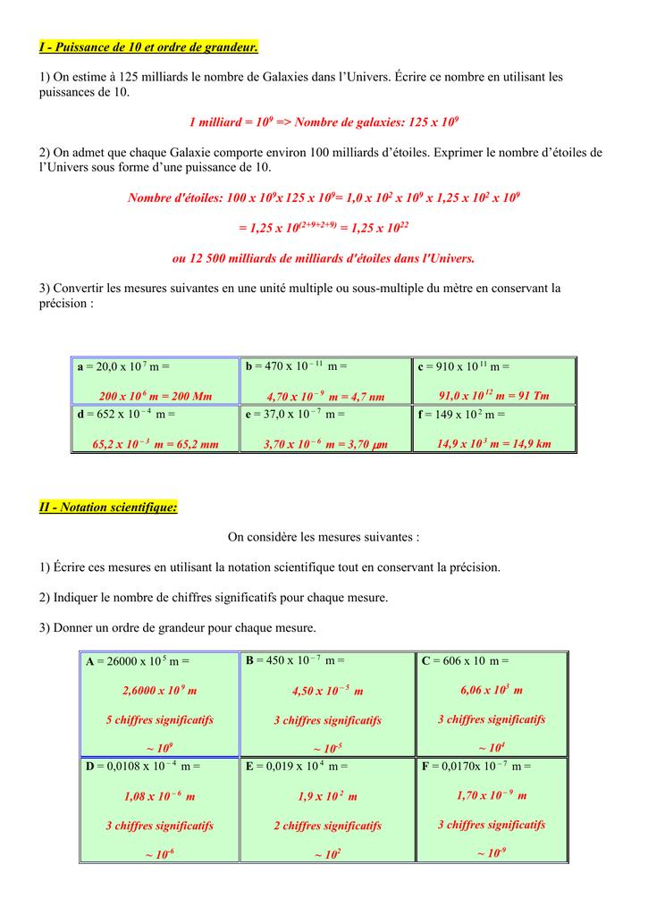 puissance de 10 et ordre de grandeur - Forum mathématiques