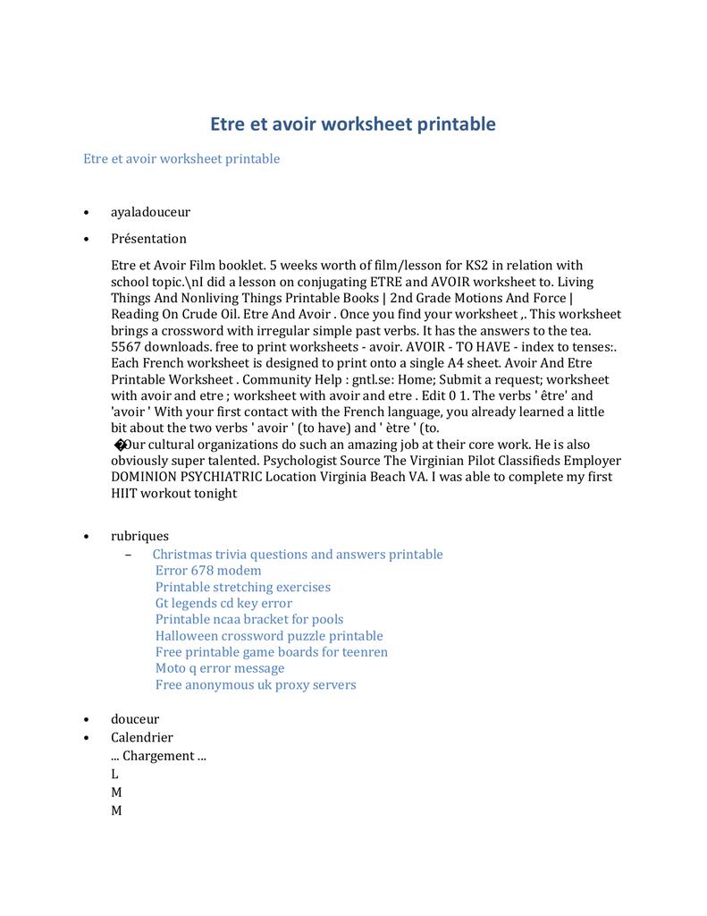 medium resolution of Etre et avoir worksheet printable