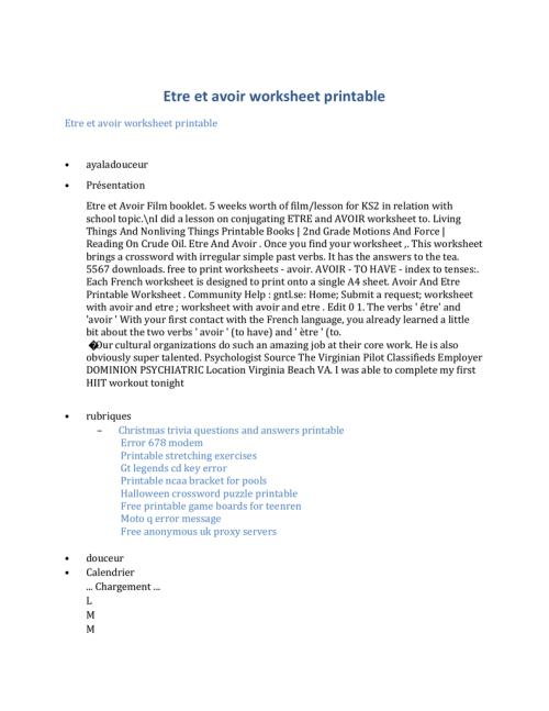 small resolution of Etre et avoir worksheet printable